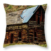 Old Log Cabin-barn Throw Pillow