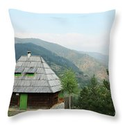 Old Log Cabin On Mountain Landscape Throw Pillow