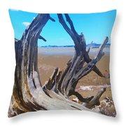 Old Log On Auckland Beach Throw Pillow