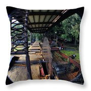 Old Logging Saw Throw Pillow