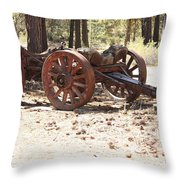 Old Logging Wagon Throw Pillow