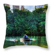 Old Love And Central Park Lake Throw Pillow