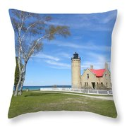 Old Mackinaw Point Light Throw Pillow