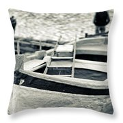 Old Man And Boat Throw Pillow by Silvia Ganora