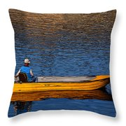 Old Man And His Boat Throw Pillow