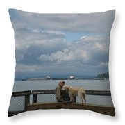 Old Man And His Dog Throw Pillow