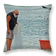 Old Man And The Net Throw Pillow