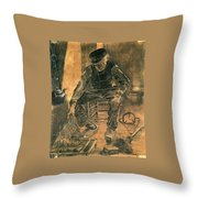 Old Man At The Fireside Throw Pillow