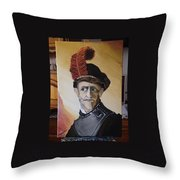 Old Man In Military Costume Throw Pillow