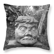 Old Man Of Copan Sculpture, Also Known As The Pauahtun Head From Throw Pillow