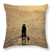 Old Man Paddling Into The Sunset Throw Pillow