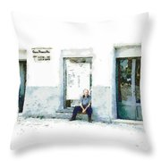 Old Man Sitting In Front Of A Shop Throw Pillow