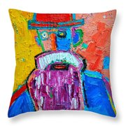 Old Man With Red Bowler Hat Throw Pillow