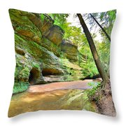 Old Man's Gorge Trail And Caves Hocking Hills Ohio Throw Pillow