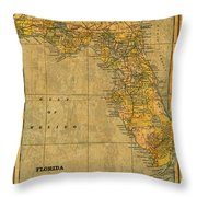 Old Map Of Florida Vintage Circa 1893 On Worn Distressed Parchment Throw Pillow