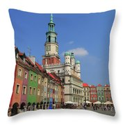 Old Marketplace And The Town Hall Poznan Poland Throw Pillow