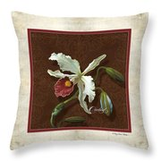Old Masters Reimagined - Cattleya Orchid Throw Pillow