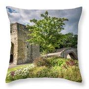Old Medieval Bridge At Warkworth Throw Pillow