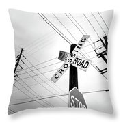 Old Midwest Railroad Warning Crossing Sign And Stop Sign At Dawn Throw Pillow