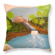 Old Mill And Falls Throw Pillow