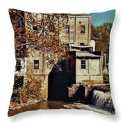 Old Mill In Autumn Throw Pillow