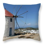 Old Mill In Greece Throw Pillow