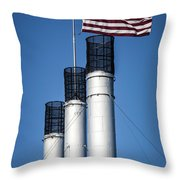 Old Mill Smoke Stacks With Flag Throw Pillow