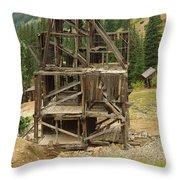 Old Mining Equipment Throw Pillow