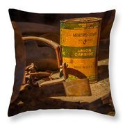 Old Mining Equipment Throw Pillow
