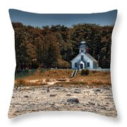 Old Mission Point Light House 01 Throw Pillow