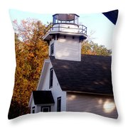Old Mission Point Light House Throw Pillow
