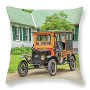 Old Model T Ford In Front Of House Throw Pillow