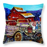 Old Model T Car Red Barns Canadian Winter Landscapes Outdoor Hockey Rink Paintings Carole Spandau Throw Pillow