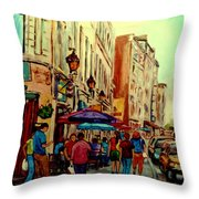 Old Montreal Cafes Throw Pillow