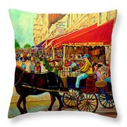 Old Montreal Restaurants Throw Pillow by Carole Spandau