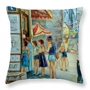 Old Montreal Street Scene Throw Pillow