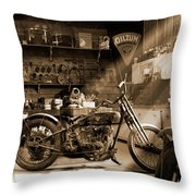Old Motorcycle Shop Throw Pillow by Mike McGlothlen