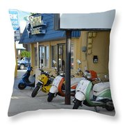 Old Motorcycles Throw Pillow
