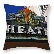 Old Movie Theatre Sign Throw Pillow by Garry Gay