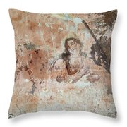 Old Mural Painting In The Ruins Of The Church Throw Pillow