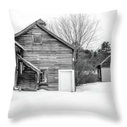 Old New England Barns In Winter Throw Pillow