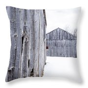 Old New England Barns Winter Throw Pillow