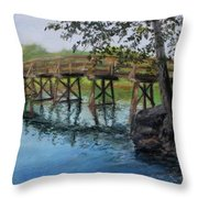 Old North Bridge In Pastel Throw Pillow by Jack Skinner