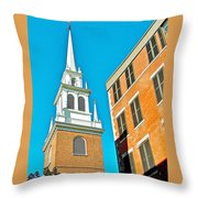 Old North Church Tower In  Boston-massachusetts Throw Pillow
