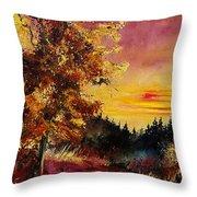 Old Oak At Sunset Throw Pillow