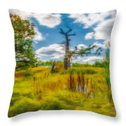 Old Oaks Painterly.  Throw Pillow