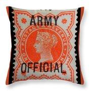 Old Orange Halfpenny Stamp  Throw Pillow