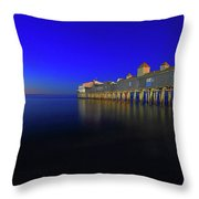 Old Orchard Beach Pier At Sunrise Throw Pillow