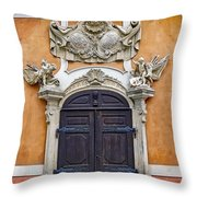 Old Ornate Door At The Cesky Krumlov Castle At Cesky Krumlov In The Czech Republic Throw Pillow