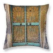 Old Ornate Wrought Iron Door In Venice, Italy  Throw Pillow